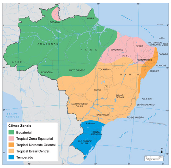 Mapa dos climas do Brasil: Equatorial; Tropical Zona Equatorial; Tropical Nordeste Oriental; Tropical Brasil Central; Temperado
